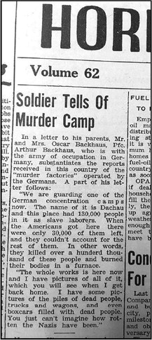 Horicon Reporter Article From 1945 To Be Included In United States   Holocaust Memorial Museum Archives