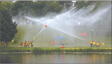 Firefighters Compete In Water Fights